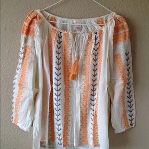 Sundance Catalog $138 embroidered boho tunic top M